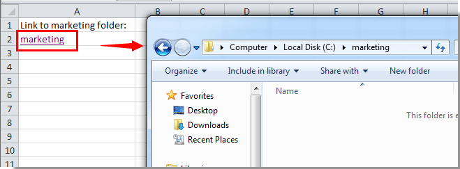 How to create a hyperlink to a specific folder in Excel?