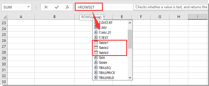 How to list all table names in Excel?