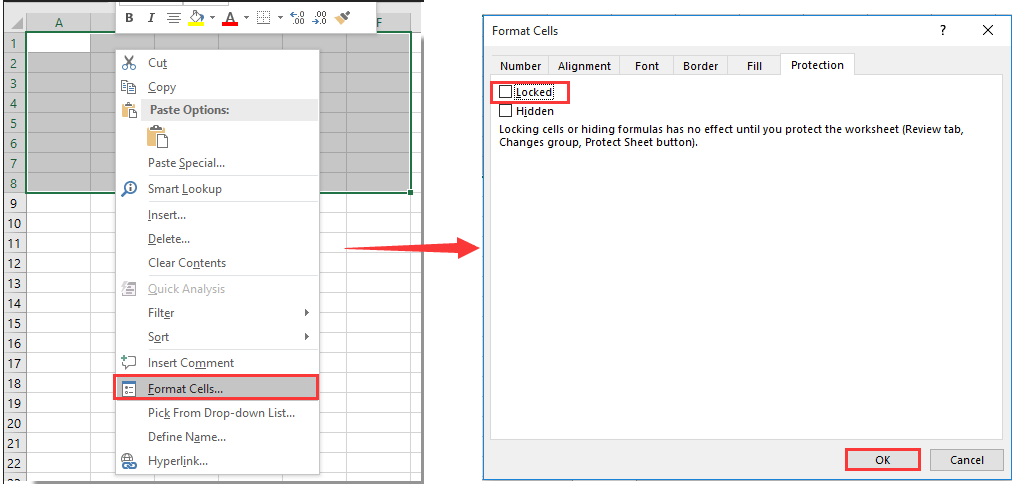 How to lock cell width and height from resizing in Excel?