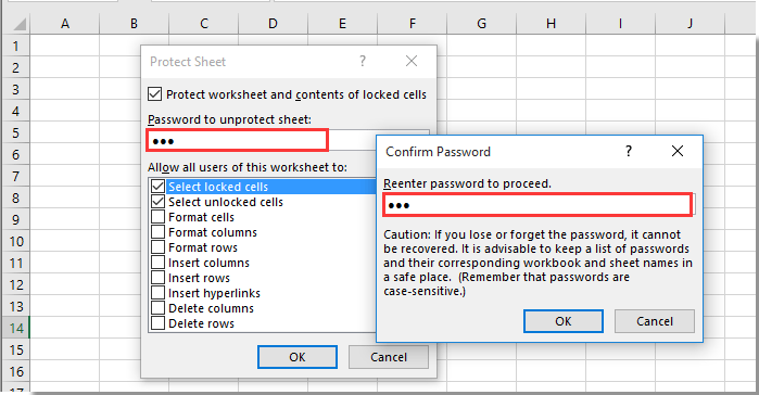cell lock excel