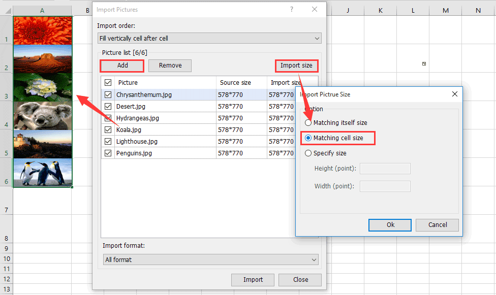 How to lock picture/image to or inside cell in Excel?