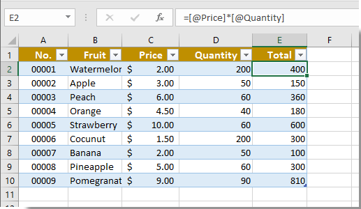 excel lock cell in formula table