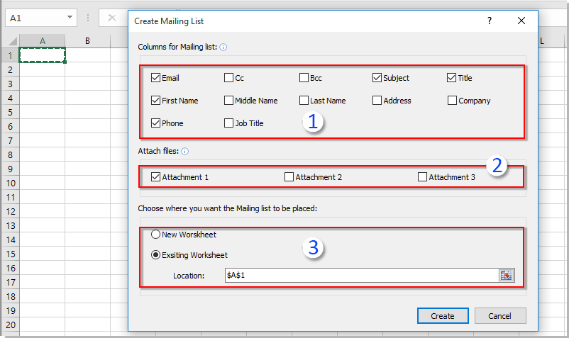then the mailing list template is created with specified field columns as below screenshot