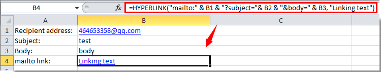 How to send email from Excel with mailto hyperlink function?