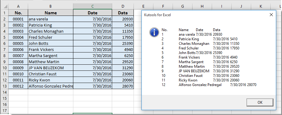 How to pop up message box to display range of cells or cell