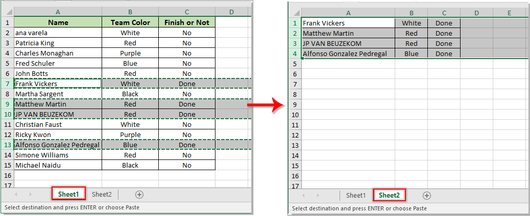How to move entire row to another sheet based on cell value in Excel?