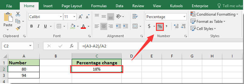 How to calculate percentage change or difference between two
