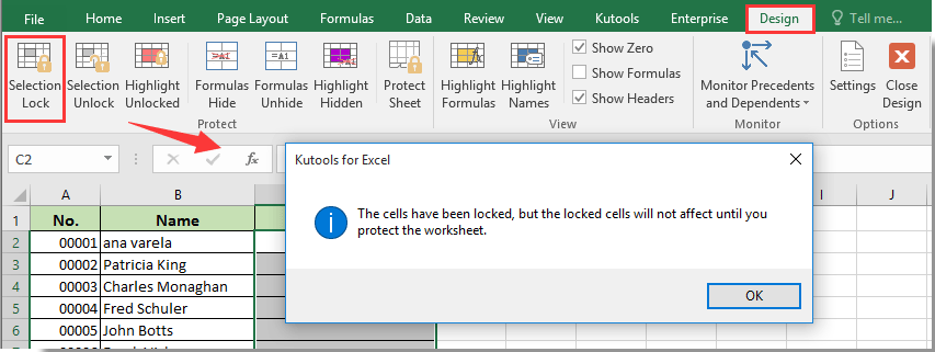 lock data entry in excel