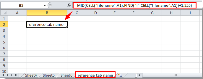 How to reference tab name in cell in Excel?