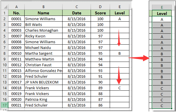 How to repeat a cell value until new value is seen or reached in Excel?