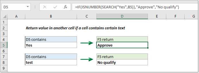 How to return value in another cell if a cell contains