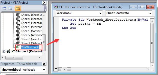 How to return to last active sheet in Excel?