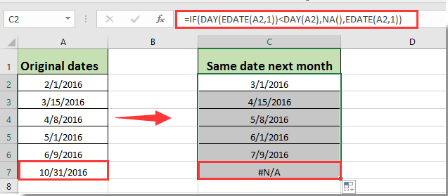 How to get same or first day of next month based on given date in Excel?