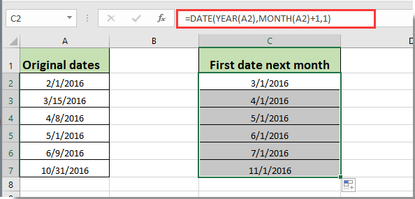 how to get same or first day of next month based on given date in excel
