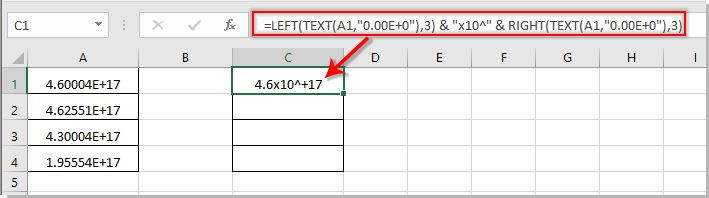 How to convert scientific notation to x10 format in Excel?