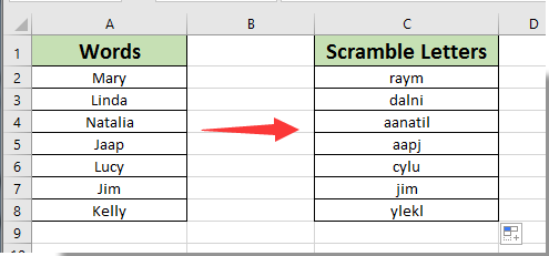 how to scramble letters in words in excel