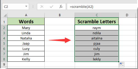 How to scramble letters in words in Excel?