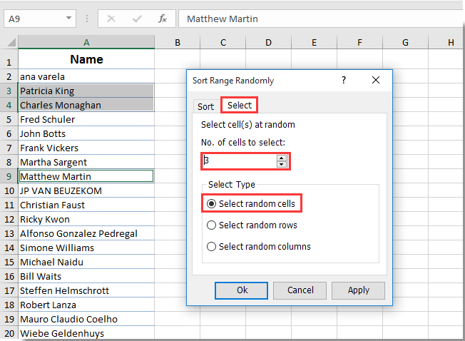 How to select random names from a list in Excel?