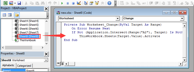 How to select specific worksheet based on cell value on another ...