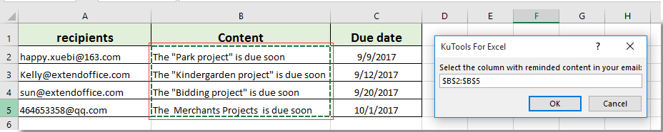 How to send email if due date has been met in Excel?