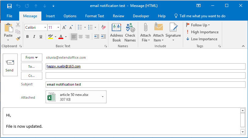 How to send email reminder or notification if workbook is updated in