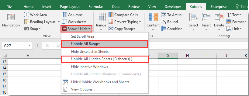 How to show or hide Horizontal & Vertical scroll bar in Microsoft Excel?