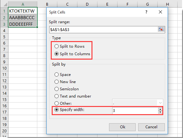 How to split string by certain length in Excel?