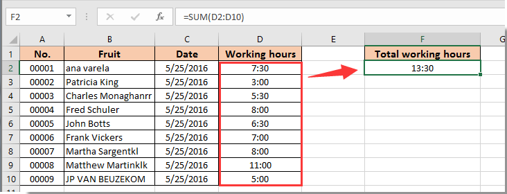 How to add or sum times over 24 hours in Excel?