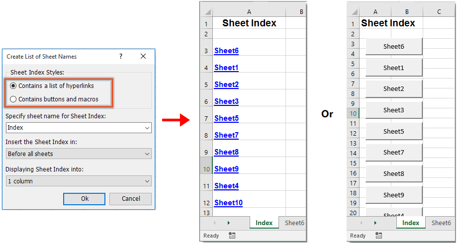 How to make sheet tab name equal to cell value in Excel?