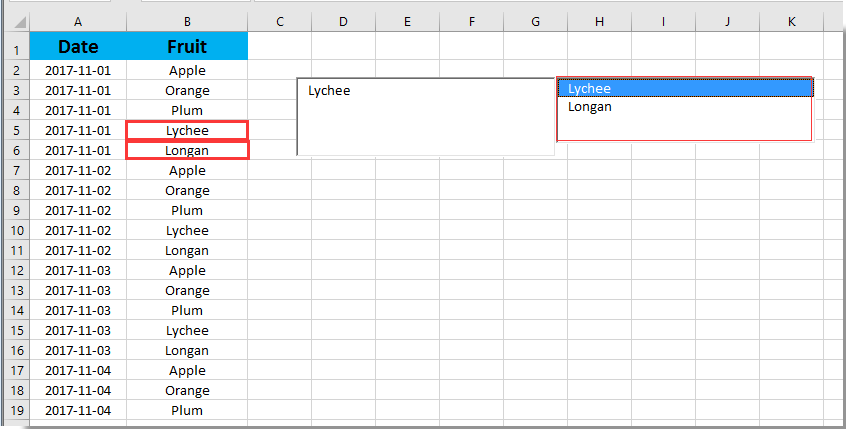 How to autocomplete a textbox when typing in Excel?