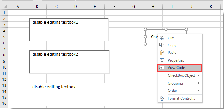 How to disable editing in textbox to prevent user inputting in Excel?