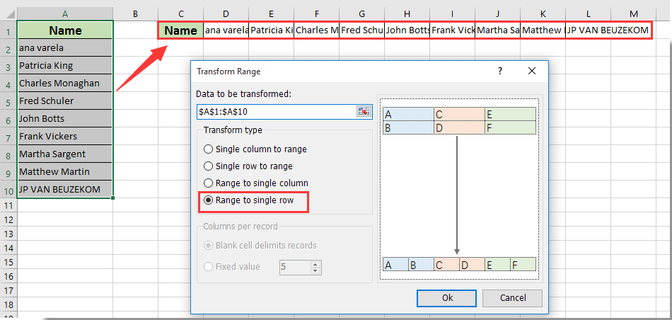 How to convert vertical list to horizontal or vice versa in
