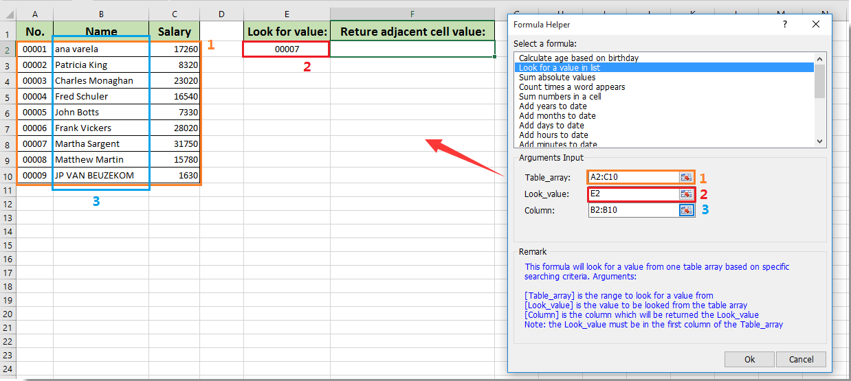 How to vlookup return value in adjacent or next cell in Excel?
