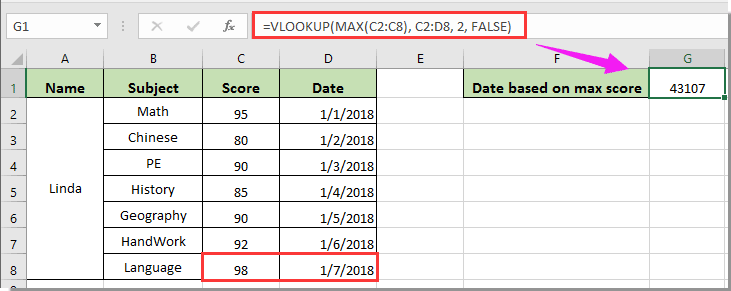 How to vlookup and return date format instead of number in Excel?