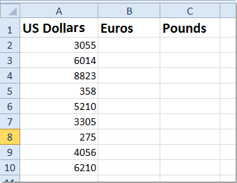 How To Quickly Convert Between Dollars Pounds Euros In Excel