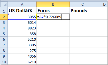 How to quickly convert between dollars, pounds, euros in