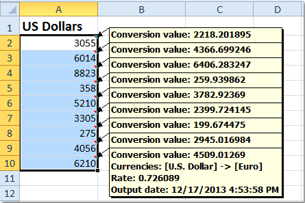 Pounds Euros In Excel