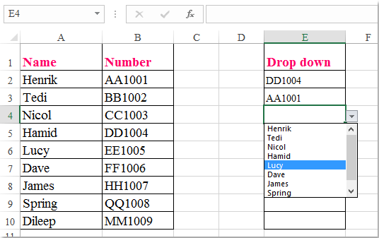doc dropdown different values 7