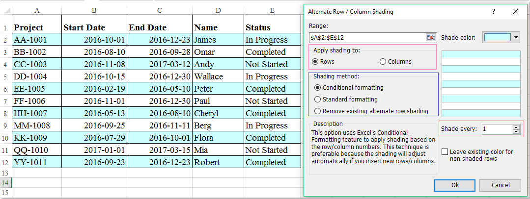 How to highlight rows based on drop down list in Excel?