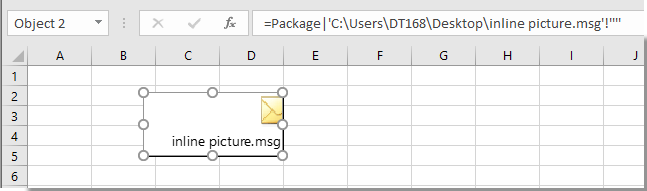 How to insert or embed an Outlook message in Excel?
