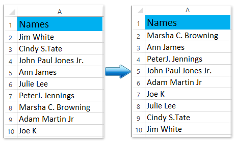 How to sort full names by last name in Excel?