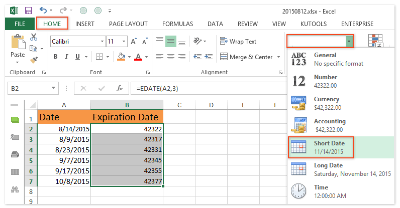 How to calculate expiration dates in Excel?