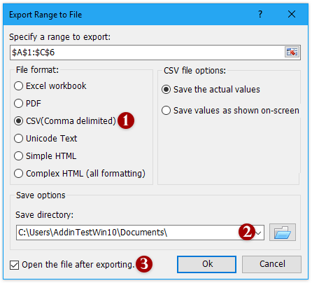 How to export Excel data to CSV?