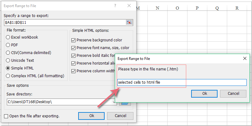 How to export a range of data from Excel to HTML or web page file?