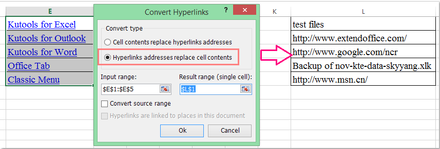 doc extract address from hyperlinks