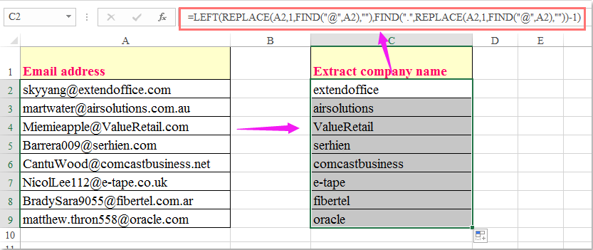 How to extract company name from email address in Excel?