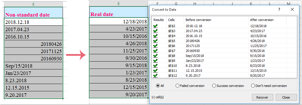 How to extract date from text strings in Excel?