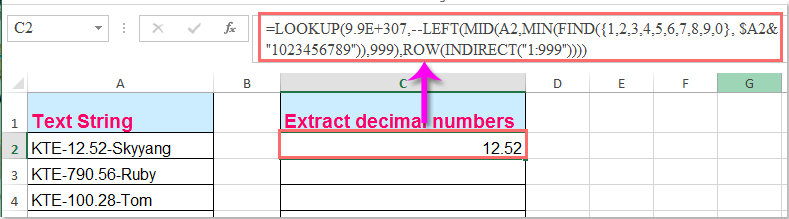 doc extract decimal numbers 1
