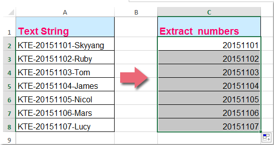 doc extract decimal numbers 7