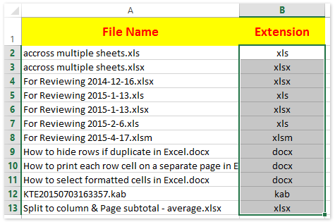How to extract extension from filename in Excel?